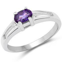 Srebrny pierścionek z ametystem i diamentami 0,46 ct