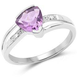 Srebrny pierścionek z ametystem i diamentami 1,41 ct