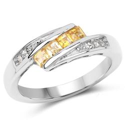 Srebrny pierścionek z cytrynami i kryształami górskimi 0,43 ct