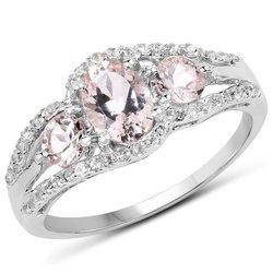 Srebrny pierścionek z morganitami i kryształami górskimi 1,40 ct