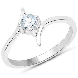 Srebrny pierścionek z naturalnym akwamarynem 0,25 ct