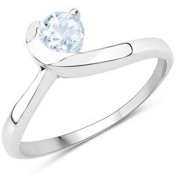 Srebrny pierścionek z naturalnym akwamarynem 0,35 ct