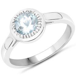 Srebrny pierścionek z naturalnym akwamarynem 0,75 ct