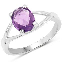 Srebrny pierścionek z naturalnym ametystem 1,90 ct