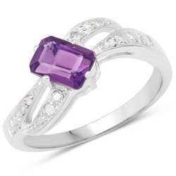 Srebrny pierścionek z naturalnym ametystem i 4 diamentami 1,23 ct