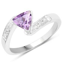 Srebrny pierścionek z naturalnym ametystem i 6 diamentami 0,75 ct