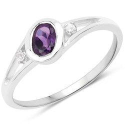 Srebrny pierścionek z naturalnym ametystem i diamentami 0,36 ct