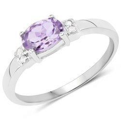 Srebrny pierścionek z naturalnym ametystem i diamentami 0,88 ct