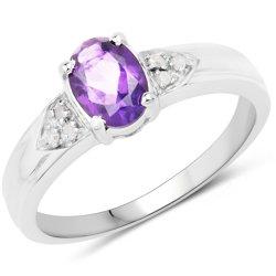 Srebrny pierścionek z naturalnym ametystem i diamentami 0,89 ct