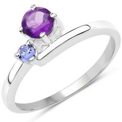 Srebrny pierścionek z naturalnym ametystem i tanzanitem 0,40 ct