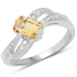 Srebrny pierścionek z naturalnym cytrynem i diamentami 1,23 ct