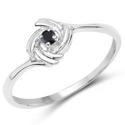 Srebrny pierścionek z naturalnym czarnym diamentem 0,04 ct