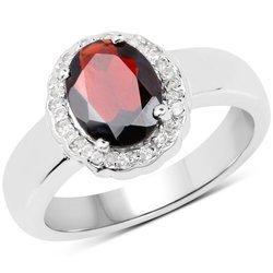 Srebrny pierścionek z naturalnym granatem i 16 kryształami górskimi 2,58 ct