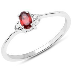 Srebrny pierścionek z naturalnym granatem i diamentami 0,37 ct