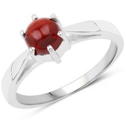 Srebrny pierścionek z naturalnym granatem o szlifie kaboszonowym 1,15 ct