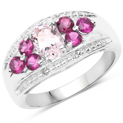 Srebrny pierścionek z naturalnym morganitem, granatami rodolit i kryształami górskimi 1,50 ct