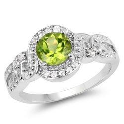Srebrny pierścionek z naturalnym perydotem i 75 kryształami górskimi 2,55 ct