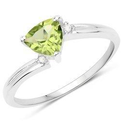 Srebrny pierścionek z naturalnym perydotem i diamentami 0,72 ct