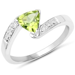 Srebrny pierścionek z naturalnym perydotem i diamentami 0,82 ct