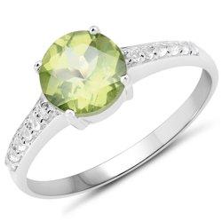 Srebrny pierścionek z naturalnym perydotem i kryształami górskimi 1,43 ct