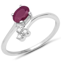 Srebrny pierścionek z naturalnym rubinem i 3 diamentami 0,69 ct
