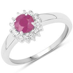 Srebrny pierścionek z naturalnym rubinem i cyrkoniami 0,78 ct
