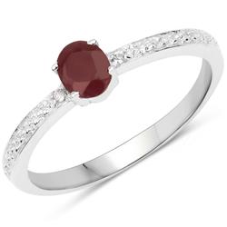 Srebrny pierścionek z naturalnym rubinem i kryształami górskimi 0,51 ct