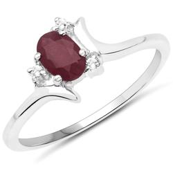 Srebrny pierścionek z naturalnym rubinem i kryształami górskimi 0,70 ct