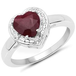 Srebrny pierścionek z naturalnym rubinem o kształcie serca i kryształami górskimi 2,19 ct