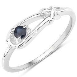 Srebrny pierścionek z naturalnym szafirem niebieskim 0,10 ct