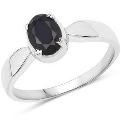 Srebrny pierścionek z naturalnym szafirem niebieskim 1,00 ct