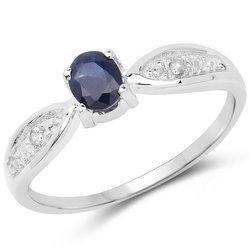 Srebrny pierścionek z naturalnym szafirem niebieskim oraz kryształami górskimi 0,53 ct