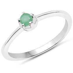 Srebrny pierścionek z naturalnym szmaragdem 0,10 ct