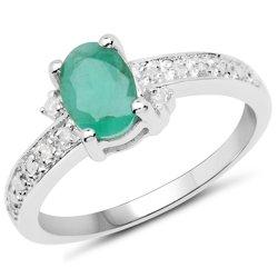 Srebrny pierścionek z naturalnym szmaragdem i 14 diamentami 0,94 ct