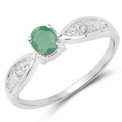 Srebrny pierścionek z naturalnym szmaragdem i diamentami 0,37 ct