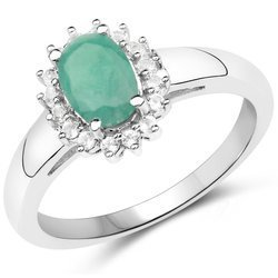 Srebrny pierścionek z naturalnym szmaragdem, kryształami górskimi 0,89 ct