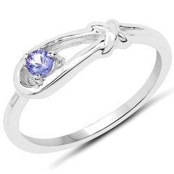 Srebrny pierścionek z naturalnym tanzanitem 0,10 ct