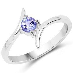 Srebrny pierścionek z naturalnym tanzanitem 0,32 ct