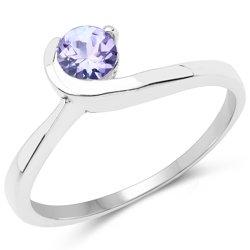 Srebrny pierścionek z naturalnym tanzanitem 0,35 ct