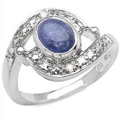 Srebrny pierścionek z naturalnym tanzanitem i diamentami 1,38 ct