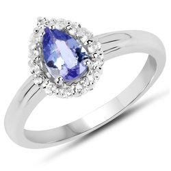 Srebrny pierścionek z naturalnym tanzanitem i kryształami górskimi 0,96 ct