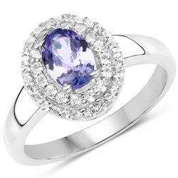 Srebrny pierścionek z naturalnym tanzanitem i kryształami górskimi 1,13 ct