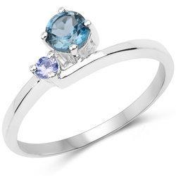 Srebrny pierścionek z naturalnym topazem i tanzanitem 0,50 ct