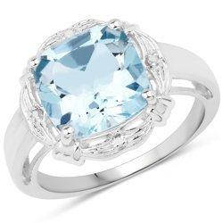 Srebrny pierścionek z naturalnym topazem niebieskim, diamentami 3,29 ct