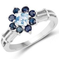Srebrny pierścionek z naturalnym topazem niebieskim i 8 szafirami 1,10 ct