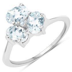 Srebrny pierścionek z naturalnymi akwamarynami i topazem niebieskim 1,23 ct