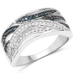 Srebrny pierścionek z naturalnymi diamentami białymi i niebieskimi 0,38 ct