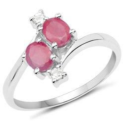Srebrny pierścionek z naturalnymi rubinami i kryształami górskimi 1,30 ct