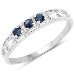 Srebrny pierścionek z naturalnymi szafirami niebieskimi 0,20 ct