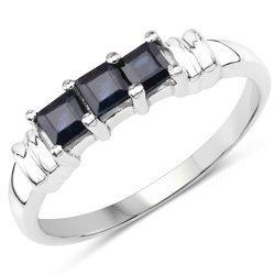 Srebrny pierścionek z naturalnymi szafirami niebieskimi 0,54 ct